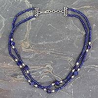 Lapis lazuli and cultured pearl necklace,