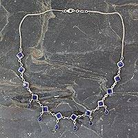 Lapis lazuli waterfall necklace, 'Queen of Diamonds' - Handmade Lapis Lazuli and Sterling Silver Jewelry from India