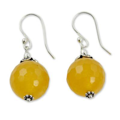 Fair Trade Yellow Chalcedony and Sterling Silver Earrings