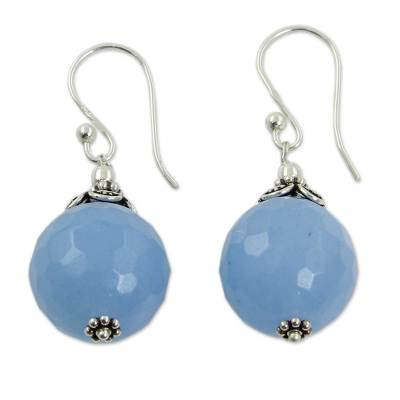 Artisan Crafted Blue Chalcedony and Sterling Silver Earrings