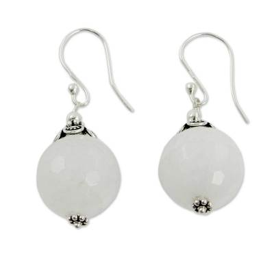 Handmade White Chalcedony and Silver Earrings from India