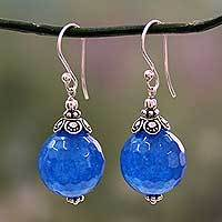 Chalcedony dangle earrings, 'Ocean Magic' - India Handmade Sterling Silver Dark Blue Chalcedony Earrings