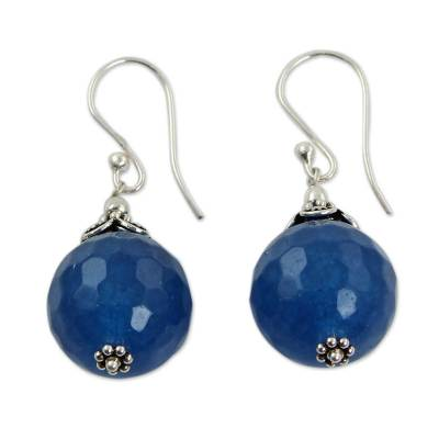 India Handmade Sterling Silver Dark Blue Chalcedony Earrings