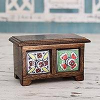 Wood and ceramic mini chest of drawers, 'India Colors' - Artisan Crafted Decorative Wood Box Mini Chest of Drawers