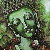 'Peaceful Siddhartha' - India Original Green Buddhist Fine Art Painting
