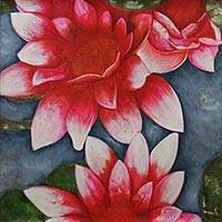 'Cheerful Radiance' - Red Lotus Blossoms Original Fine Art Painting