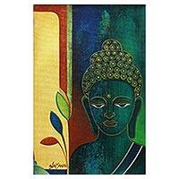 'Meditative Buddha' - Original Signed Buddha Portrait from India