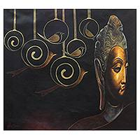 'Buddha in the Golden Age' - Original India Fine Art Painting of Buddha and Birds