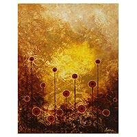 'Dream II' - Signed Abstract Afternoon Flowers Painting