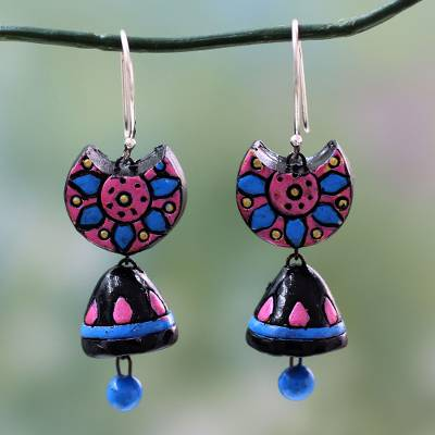 Terracotta beaded earrings, 'Morning Magic' - Hand Painted Terracotta Beaded Earrings on Silver Hooks