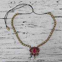 Terracotta flower beaded necklace, 'Lotus Majesty' - Artisan Crafted Adjustable Length Terracotta Beaded Necklace