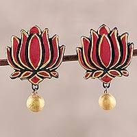 Terracotta flower earrings, 'Lotus Majesty' - Pink and Gold Colored Hand Painted Terracotta Earrings