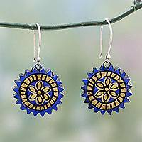 Terracotta dangle earrings, 'Peaceful Chakra' - Blue and Golden Hand Painted Terracotta Silver Hook Earrings