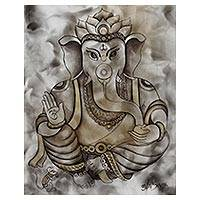 'Blissful Ganesha' - Hinduism Deity Signed Ganesha Painting from India