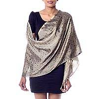 Varanasi silk shawl, 'Paisley Dusk' - Hand Woven Banaras Silk Paisley Shawl in Black on Brown