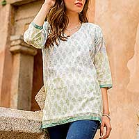 Cotton and silk blend tunic, 'Cool Bouquet'