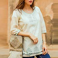 Cotton and silk blend tunic, 'Ivory Delight'