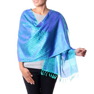 Varanasi silk shawl, 'Forever Azure' - Blue and Turquoise Handwoven Floral Banaras Silk Shawl
