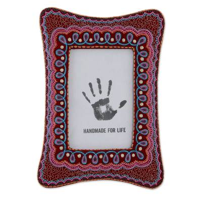 Maroon Photo Frame with Colorful Indian Embroidery (4x6)