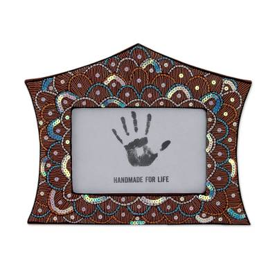Hand Crafted Embroidered Photo Frame from India (4x6)