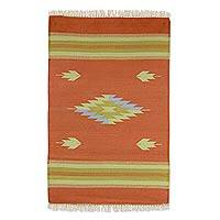 Cotton rug, 'Ginger Diamond' (2x3) - Hand Woven 2x3 Feet 100% Cotton Rug from India