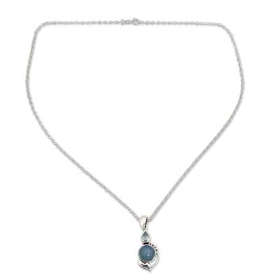 Sterling Silver Necklace with Blue Topaz and Chalcedony