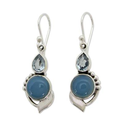 Sterling Silver Hook Earrings with Blue Topaz and Chalcedony