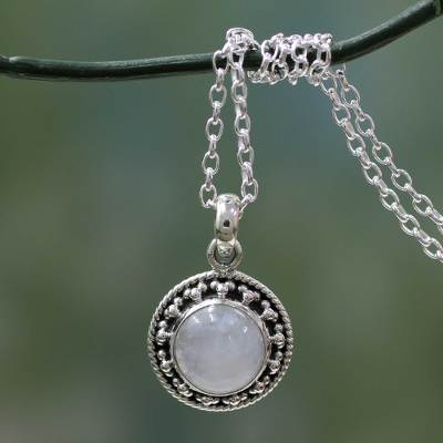 Rainbow moonstone pendant necklace, 'Lavish Moon' - Rainbow Moonstone Jewelry Indian Sterling Silver Necklace