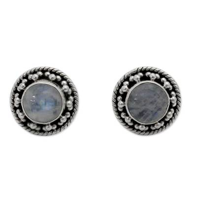 Artisan Crafted Sterling Silver Rainbow Moonstone Earrings