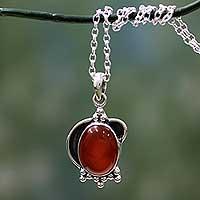 Carnelian Pendant Necklace Solar Charm (india)