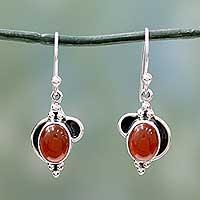 Carnelian dangle earrings, 'Solar Charm'