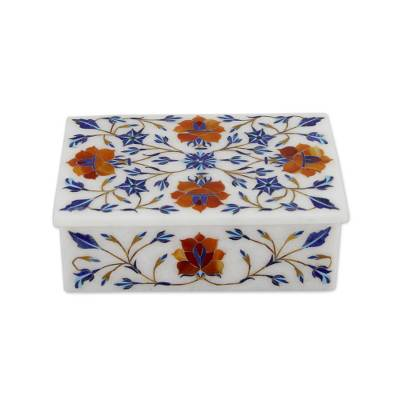 Marble inlay jewelry box, 'Marigolds' - Hand Crafted Flower Theme Marble Inlay Jewelry Box
