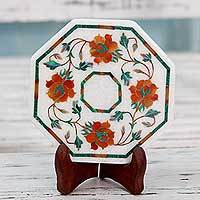 Marble inlay decorative plate, 'Bright Carousel' - Indian Floral Inlay Marble Decorative Plate with Stand