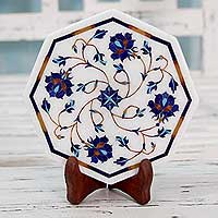Marble inlay decorative plate, 'Carousel of Roses' - Hand Made Inlaid Marble Decorative Plate with Wood Stand