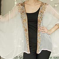 Embellished shrug, 'Rajasthani Glam' - Off White Shrug with Floral Beadwork One Size Fits Most