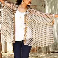 Embellished wrap, 'Rajasthani Glitz' - Block Printed Sheer Grey Wrap Shawl with Beadwork