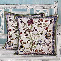 Cotton cushion covers, 'Floral Morn' (pair) - 2 Indian Block Print Cotton Cushion Covers with Floral Motif
