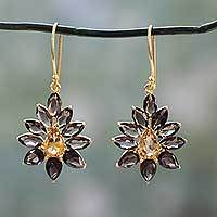 Gold vermeil smoky quartz and citrine dangle earrings, 'Twilight Aura' - Gold Vermeil Earrings with Smoky Quartz and Citrine