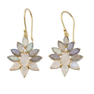 Labradorite and Rainbow Moonstone Gold Vermeil Earrings