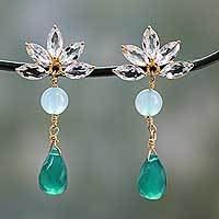 Gold vermeil multi-gemstone dangle earrings, 'Aqua Radiance' - Gold Vermeil Onyx Earrings with Aventurine and Blue Topaz