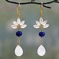 Rainbow moonstone and lapis lazuli dangle earrings, 'Morning Radiance' - Handmade Vermeil Earrings with Rainbow Moonstone and Lapis
