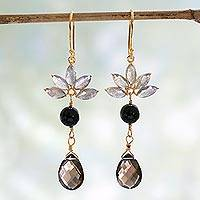 Gold vermeil multi-gemstone dangle earrings, 'Evening Radiance' - Gold Vermeil Onyx Earrings with Labradorite and Smoky Quartz