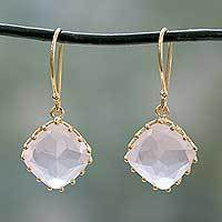 Gold vermeil rose quartz dangle earrings, 'Eternal Romance' - Hand Made Gold Vermeil Faceted Rose Quartz Earrings