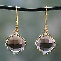 Gold vermeil smoky quartz dangle earrings, 'Eternal Romance' - Artisanal Gold Vermeil Faceted Smoky Quartz Earrings