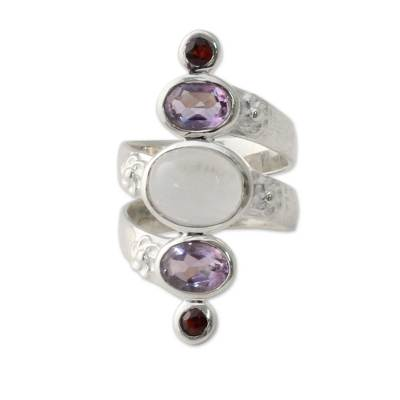 Silver Moonstone Artisan Ring with Amethyst and Garnet
