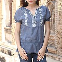 Cotton blend tunic, 'Cadet Blue Thrills' - Polyester Cotton Blend Tunic Cadet Blue Short Sleeves India