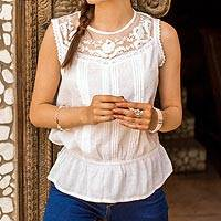 Cotton sleeveless blouse, 'Lacy Delight' - Embroidered Laced Cotton Blouse in Snow White from India