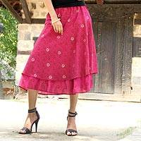 Cotton skirt, 'Hot Pink Tiers' - India Cotton Print Tiered Cotton Skirt in Hot Pink