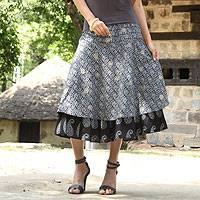 Cotton skirt, 'Ebony Tiers' - India Black Cotton Print Tiered Cotton Skirt