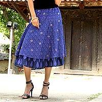Cotton skirt, 'Royal Blue Tiers' - India Block Print Blue Cotton Tiered Skirt